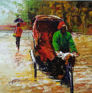 rickshaw by Ganesh Panda, Expressionism Painting, Acrylic on Canvas, Brown color