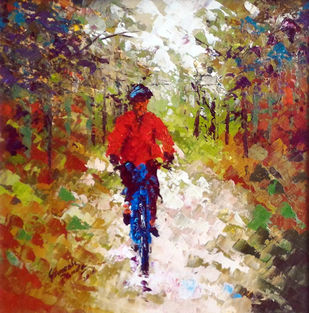 cycle ride by Ganesh Panda, Expressionism Painting, Acrylic on Canvas, Brown color
