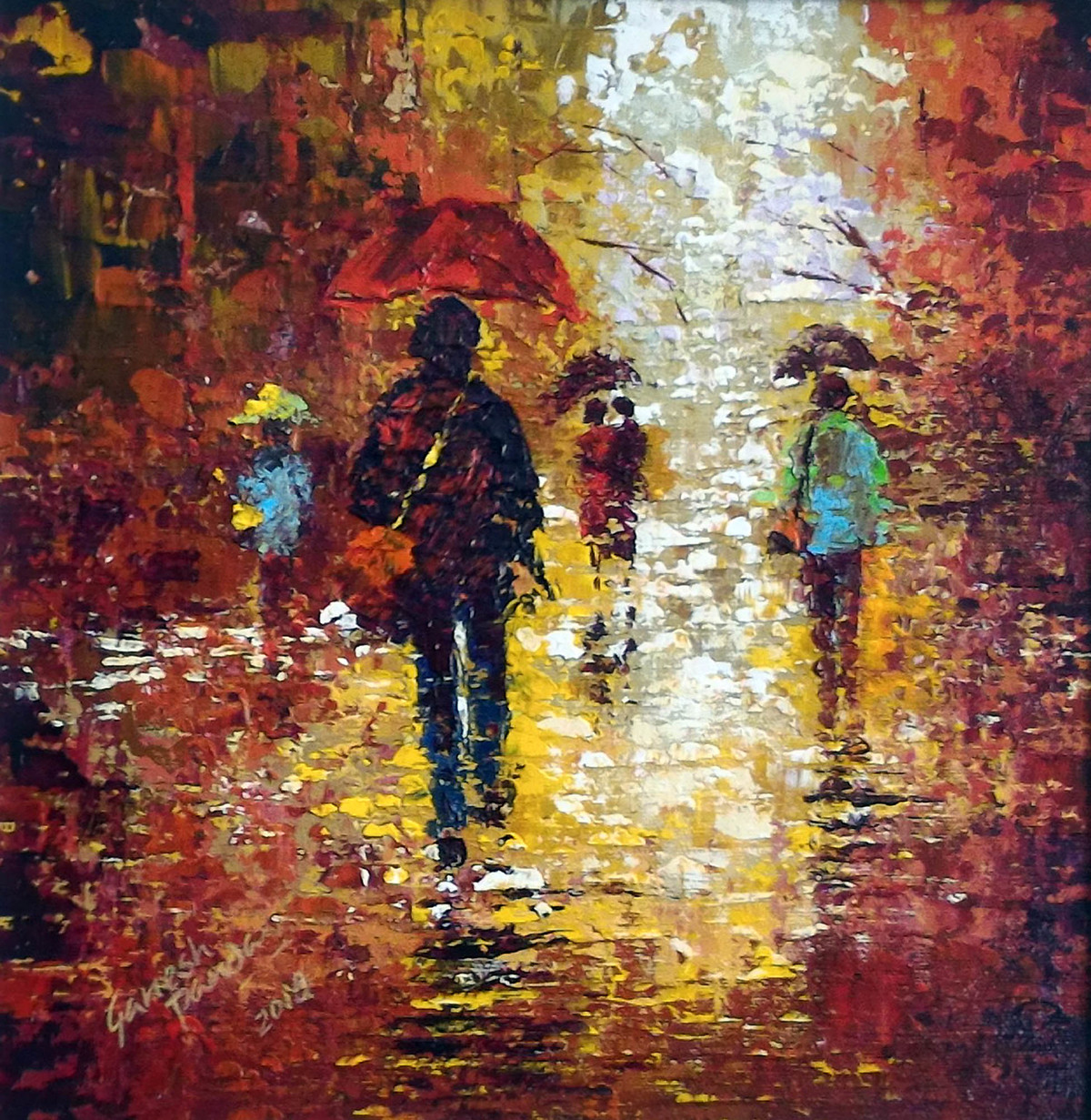 rainy day by Ganesh Panda, Expressionism Painting, Acrylic on Canvas, Brown color