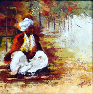 waiting by Ganesh Panda, Expressionism Painting, Acrylic on Canvas, Brown color