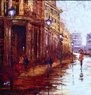cityscape by Ganesh Panda, Expressionism Painting, Acrylic on Canvas, Brown color