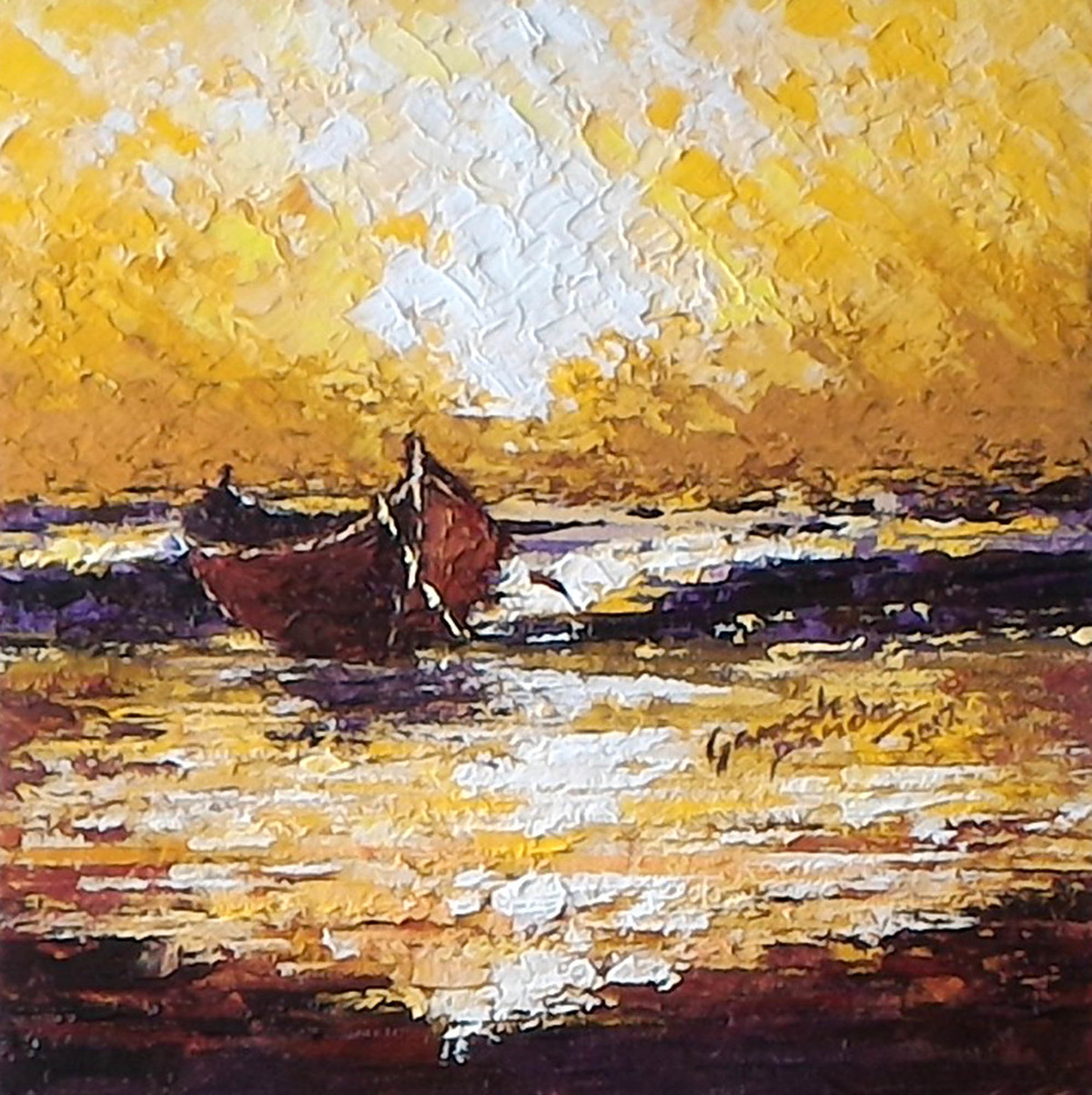 sunrise by Ganesh Panda, Expressionism Painting, Acrylic on Canvas, Brown color