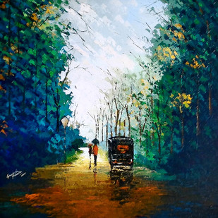 green by Ganesh Panda, Expressionism Painting, Acrylic on Canvas, Blue color