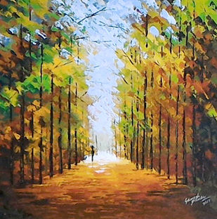 treescape 2 by Ganesh Panda, Expressionism Painting, Acrylic on Canvas, Brown color