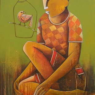 Compassionate Listener by anupam pal, Decorative Painting, Acrylic on Canvas, Brown color