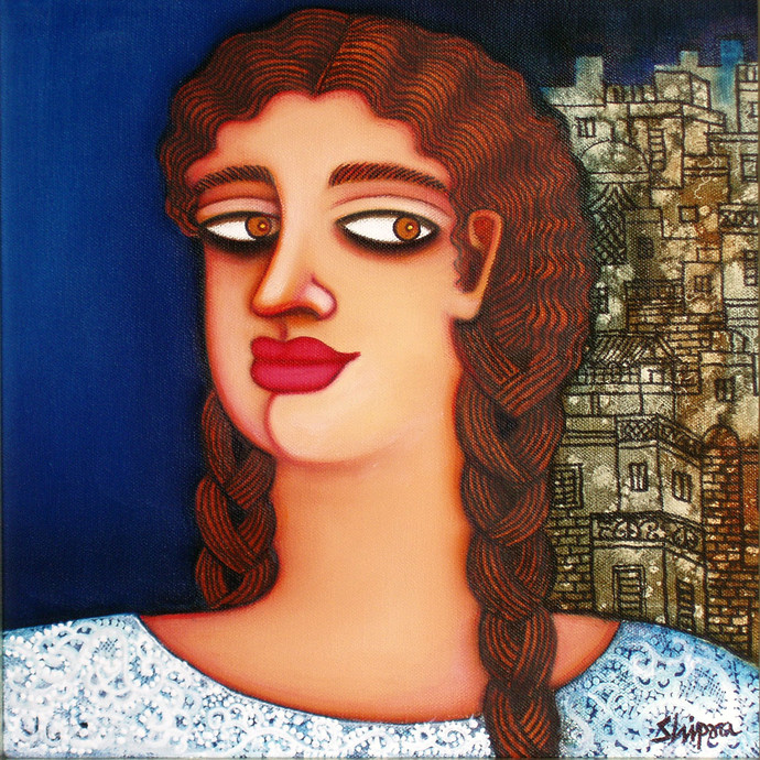 She II by Shipra Bhattacharya, Expressionism Painting, Oil & Acrylic on Canvas, Brown color