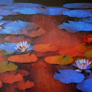 Waterlilies by Swati Kale, Expressionism Painting, Oil on Canvas, Blue color