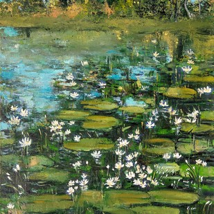 Lotus (4) by Animesh Roy, Impressionism Painting, Oil on Canvas, Green color
