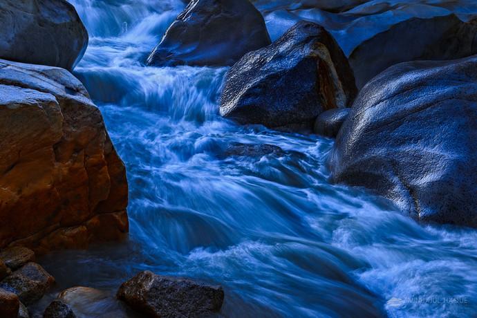 Morning Stream, Gangotri National Park, UT by Minhajul Haque, Image Photography, Print on Paper, Blue color