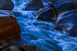 Morning Stream, Gangotri National Park, UT by Minhajul Haque, Image Photography, Print on Paper, Blue color