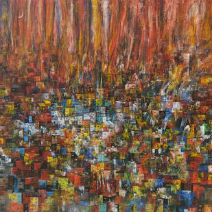 A glimpse of the village home by M Singh, Geometrical Painting, Acrylic on Canvas, Brown color