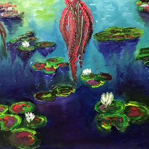 Lily Pads by Konika Banerjee, Impressionism Painting, Oil on Canvas, Blue color