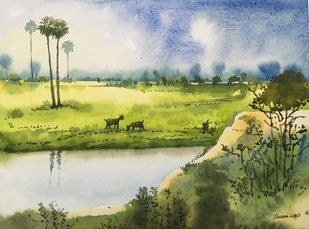 landscape 3 by SOUMI JANA, Impressionism Painting, Watercolor on Paper, Beige color