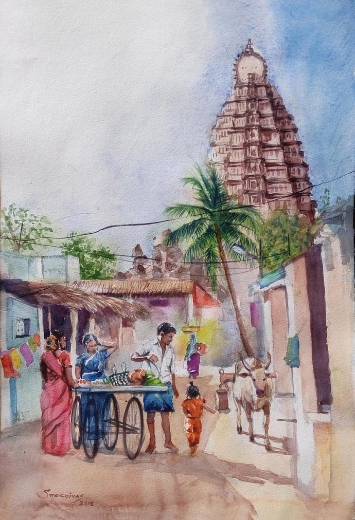 Hampi, village morning. by Sreenivasa Ram Makineedi, Impressionism Painting, Watercolor on Paper, Brown color