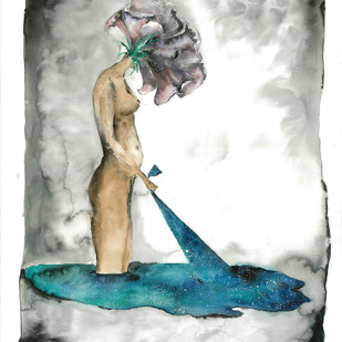Take Control by Laila Vaziralli, Expressionism Painting, Watercolor on Paper, Gray color