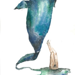 Dive Deep by Laila Vaziralli, Expressionism Painting, Watercolor on Paper,