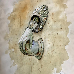 Abandoned metal by Rajat Subhra Bandopadhyay, Impressionism Painting, Watercolor Wash on Paper, Beige color