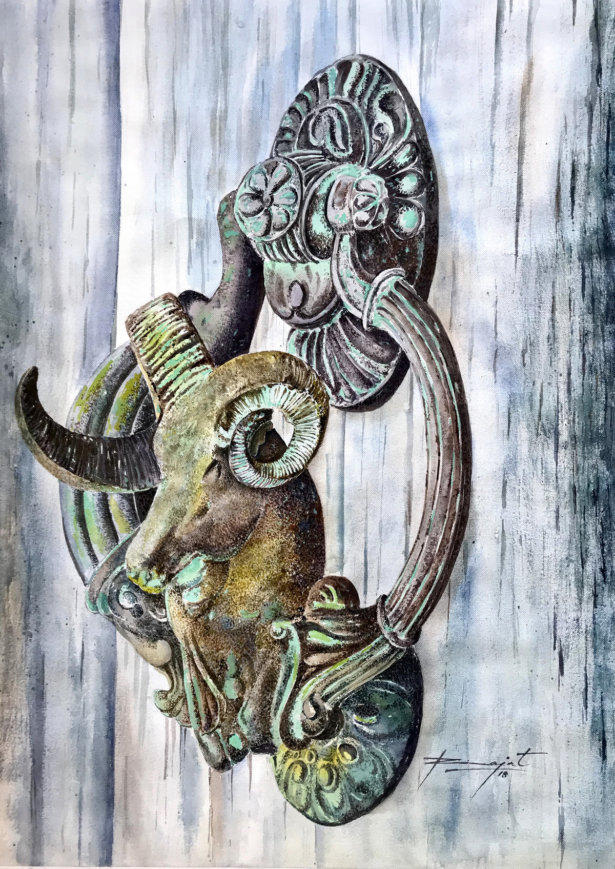 Abandoned Knocker by Rajat Subhra Bandopadhyay, Expressionism Painting, Watercolor Wash on Paper, Gray color