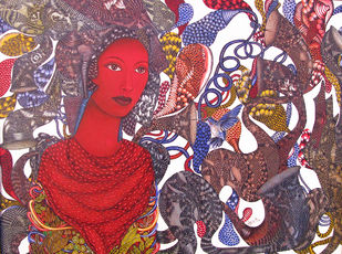 Nayika IV by Umed Rawat, Expressionism Painting, Acrylic on Canvas, Brown color