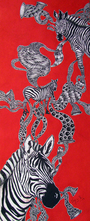 Untitled 1 by Umed Rawat, Expressionism Painting, Acrylic & Ink on Paper, Red color