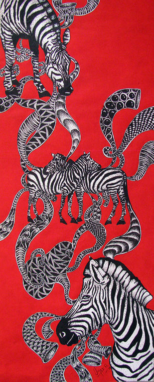 Untitled 4 by Umed Rawat, Impressionism Painting, Acrylic & Ink on Paper, Red color