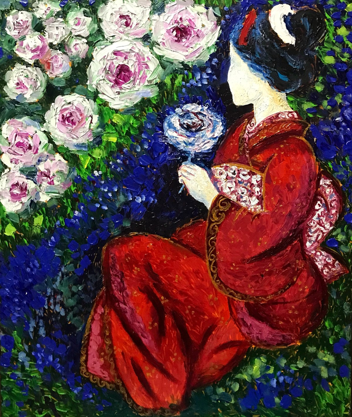 Geisha by Konika Banerjee, Impressionism Painting, Oil on Canvas, Blue color