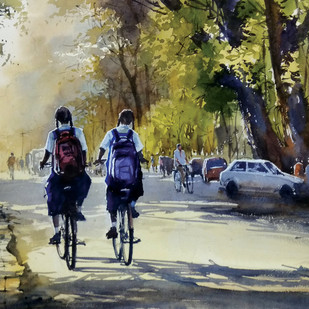 school days by Sunil Linus De, Impressionism Painting, Watercolor on Paper, Green color