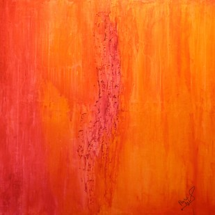 MORNING BLISS by PRATAP SINGH, Abstract Painting, Oil & Acrylic on Canvas, Orange color
