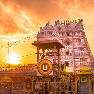 Tirumala Tirupati by Natraj Vemuri, Image Painting, Digital Print on Archival Paper, Brown color