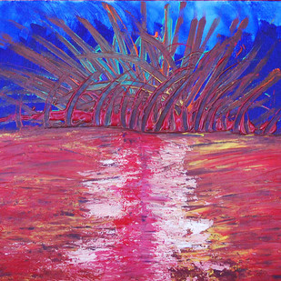 Eruption of Volcano. by Najmuddin Kachwala, Abstract Painting, Acrylic on Canvas, Blue color