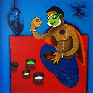 make up by Prakash Pore, Expressionism Painting, Acrylic on Canvas, Blue color