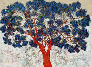 tree of life by Bhaskar Rao, Expressionism Painting, Acrylic on Canvas, Gray color