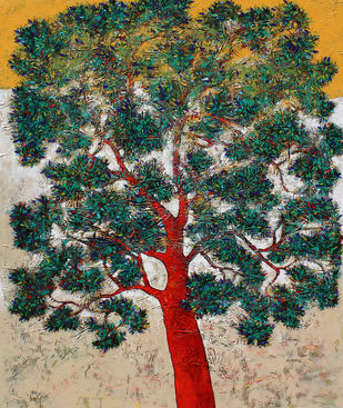 tree of life by Bhaskar Rao, Expressionism Painting, Acrylic on Canvas, Green color