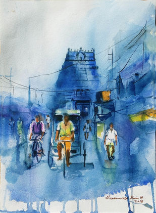 Temple Street by Sreenivasa Ram Makineedi, Impressionism Painting, Watercolor on Paper, Blue color