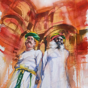 Royal Guardians by Sreenivasa Ram Makineedi, Impressionism Painting, Watercolor on Paper, Brown color