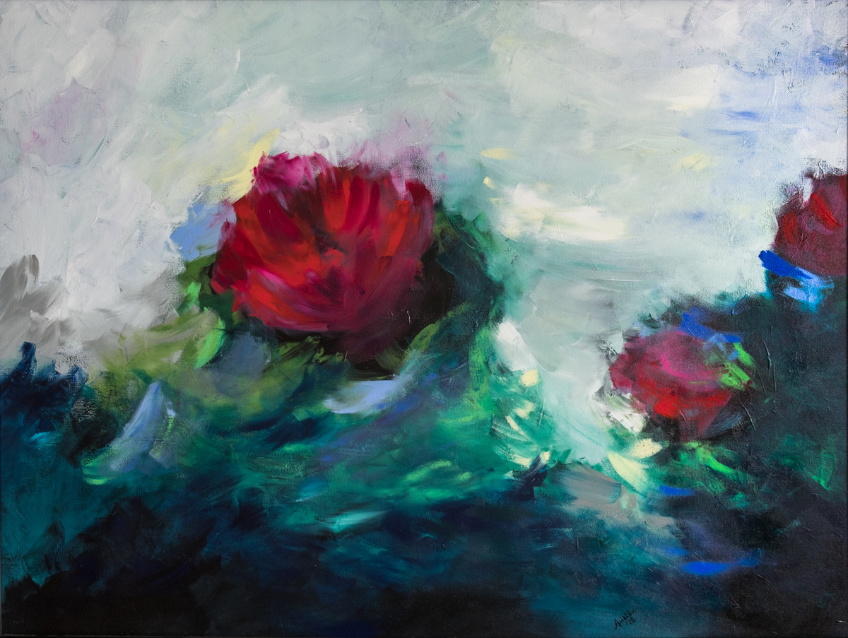 Floral impressions 3 by Ankita Jain Gupta, Impressionism Painting, Acrylic on Canvas, Gray color