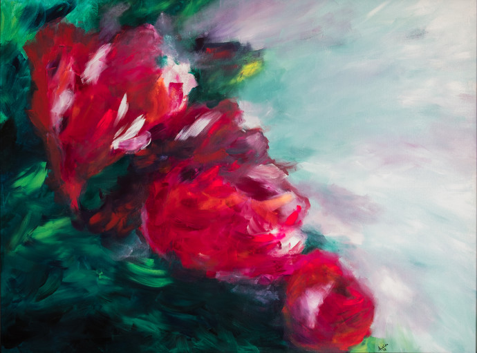 Floral impressions 2 by Ankita Jain Gupta, Impressionism Painting, Acrylic on Canvas, Gray color