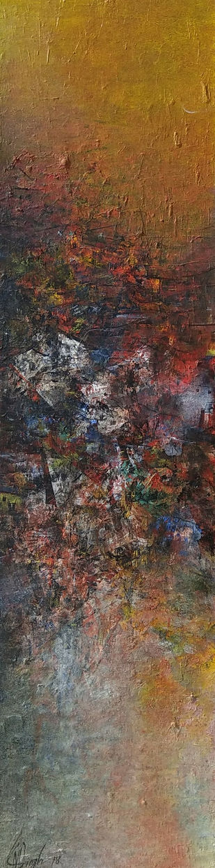 Distant view by village houses by M Singh, Abstract Painting, Acrylic on Canvas, Brown color