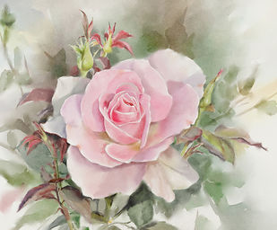 rose by kaukab Ahmad, Impressionism Painting, Watercolor on Paper, Beige color