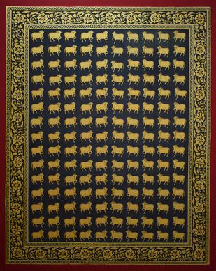 Pichwai Art by Unknown Artist, Folk Painting, Natural stone colour on cotton, Brown color