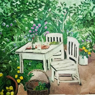 Fresh from the garden by Rupinder kaur, Expressionism Painting, Oil on Canvas, Green color