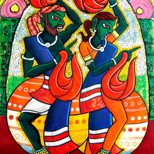 gollasuddulu by M D Rustum, Decorative Painting, Acrylic on Paper, Brown color