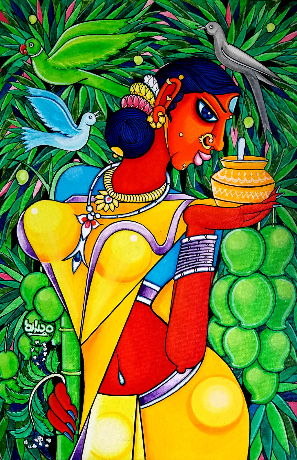 ugady by M D Rustum, Decorative Painting, Acrylic on Canvas, Green color