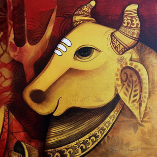 Shiv Nandi by Umakant Tawde, Expressionism Painting, Acrylic on Canvas, Brown color