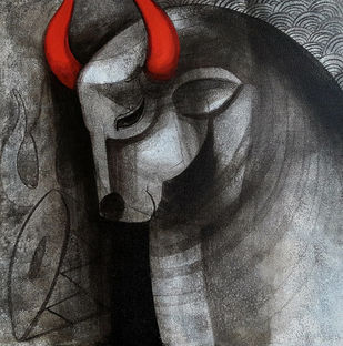 Shiv Nandi by Umakant Tawde, Expressionism Painting, Acrylic on Canvas, Gray color