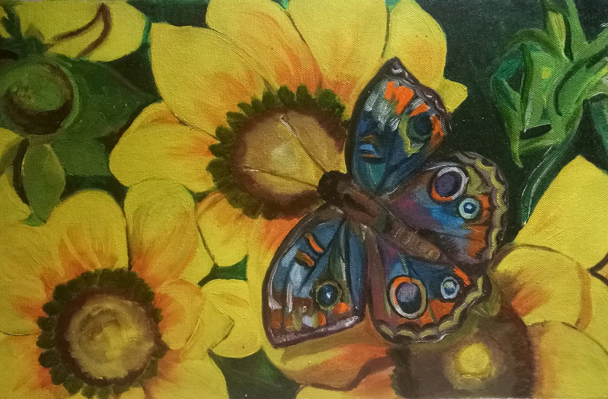 Monarch on yellow by Rupinder kaur, Expressionism Painting, Oil on Canvas, Green color