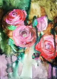 Rosebush by Rupinder kaur, Expressionism Painting, Watercolor on Paper, Pink color