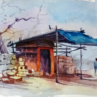 Devotional by Tapon Roy, Impressionism Painting, Watercolor on Paper, Pink color