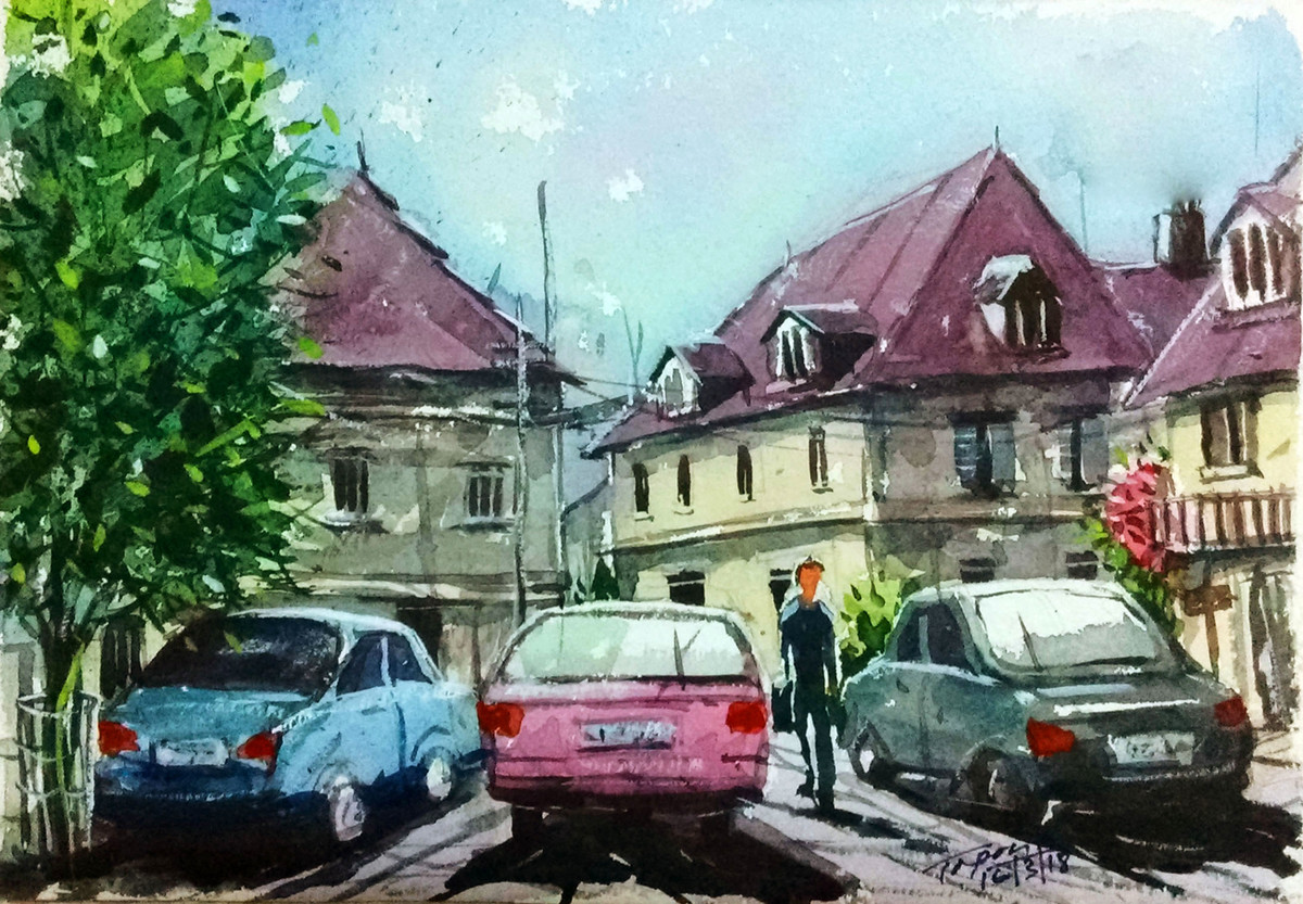 Parking Lot by Tapon Roy, Impressionism Painting, Watercolor on Paper, Green color