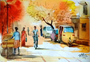 Early Morning by Tapon Roy, Impressionism Painting, Watercolor on Paper, Beige color